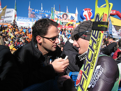 Tim Jitloff interviews with Associated Press writer Eric Willemsen after scoring his first World Cup points with 20th in Soelden.   2009 Audi FIS Alpine World Cup Solden, Austria Photo: Doug Haney/U.S. Ski Team