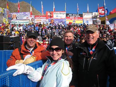 (l-r) John Dakin of the Vail Valley Foundation, Lara Rosenbaum of Ski Racing, Hank Taub of the FIS and Gary Black with Ski Racing cheer the U.S. Ski Team in Soelden.   2009 Audi FIS Alpine World Cup Solden, Austria Photo: Doug Haney/U.S. Ski Team