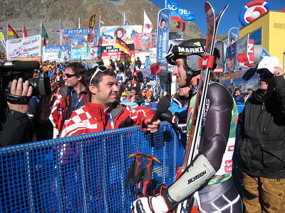 Jimmy Cochran helps pump Croatian television with a plug for the Zagreb World Cup after the first run in Soelden.   2009 Audi FIS Alpine World Cup Solden, Austria Photo: Doug Haney/U.S. Ski Team