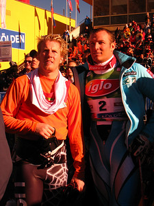 Ted Ligety and Aksel Lund Svindal chat in the finish after the first run of giant slalom in Soelden.   2009 Audi FIS Alpine World Cup Solden, Austria Photo: Doug Haney/U.S. Ski Team