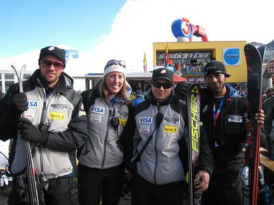 U.S. coaches cheer U.S. women's racers during the giant slalom in Soelden.   2009 Audi FIS Alpine World Cup Solden, Austria Photo: Doug Haney/U.S. Ski Team