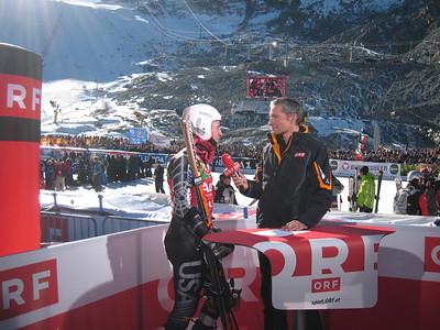 Ted Ligety interviews with Austrian TV ORF after taking third in Soelden.   2009 Audi FIS Alpine World Cup Solden, Austria Photo: Doug Haney/U.S. Ski Team