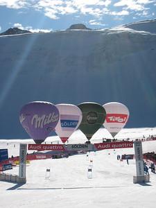Balloons line the course near the finish line in Soelden.   2009 Audi FIS Alpine World Cup Solden, Austria Photo: Doug Haney/U.S. Ski Team