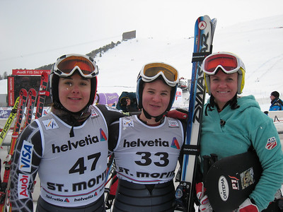 (l-r) Leanne Smith, Chelsea Marshall and Keely Kelleher smile in the finish after excellent super G runs in the first half of the super combined from St. Moritz. Photo: Doug Haney/U.S. Ski Team