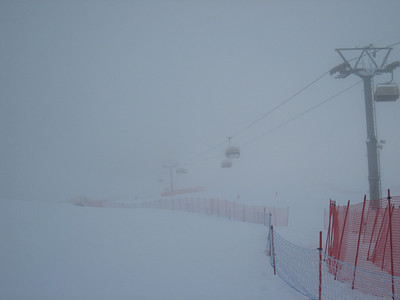 Fog covers a section of the downhill courses prior to the start of the first training run in St. Moritz, Switzerland. Photo: Doug Haney/U.S. Ski Team