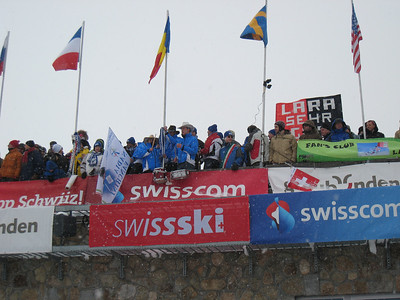Italian fans hang over the balcony prior to the start of the super G in St. Moritz. Photo: Doug Haney/U.S. Ski Team