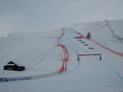 Tough light conditions mark the start of the second day of downhill training in St. Moritz. Photo: Doug Haney/U.S. Ski Team