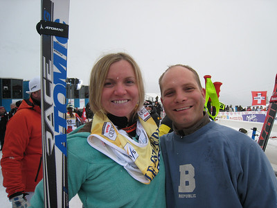 Keely Kelleher smiles with her Atomic ski technician Miha Dolinar after scoring her first World Cup points in the St. Moritz super G. Photo: Doug Haney/U.S. Ski Team