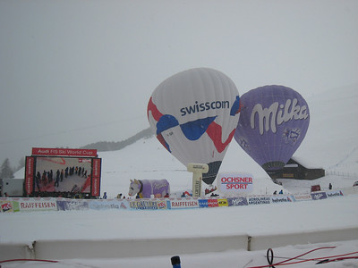Balloons wave in the wind prior to the start of the women's super G in St. Moritz. Photo: Doug Haney/U.S. Ski Team