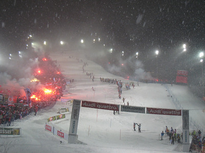 Flares erupt from the crowd during the second run in Schladming  (Doug Haney/U.S. Ski Team)