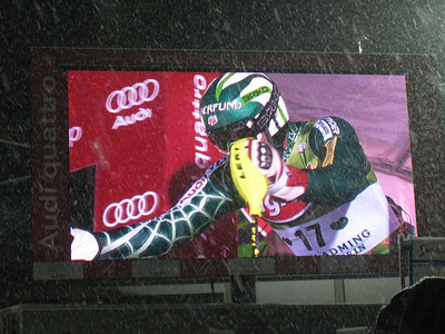 Bode Miller blasts out of the start shack on the big screen in Schladming  (Doug Haney/U.S. Ski Team)