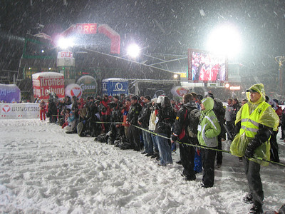 The huge photo pool lines up for the podium after The Night Slalom in Schladming (Doug Haney/U.S. Ski Team)