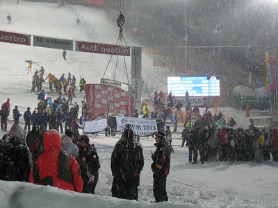 The podium is lowered into the finish area by crane following The Night Slalom in Schladming  (Doug Haney/U.S. Ski Team)