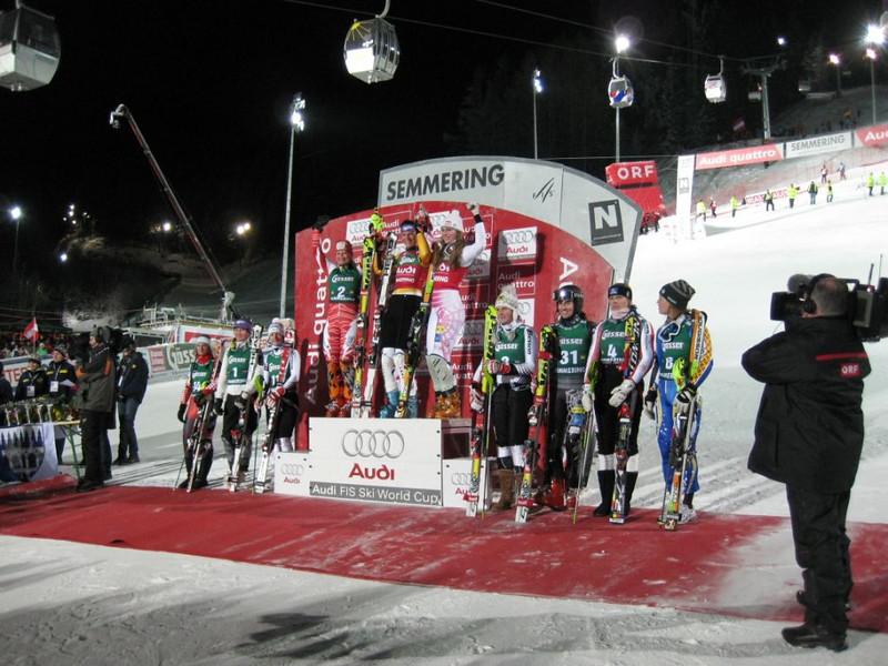 Women's Slalom Podium (l to r): 2. Tanja Poutiainen, 1. Maria Riesch, 3. Lindsey Vonn FIS World Cup Semmering, Austria Photo © Stephan Boeker
