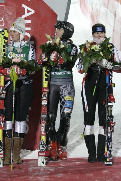 Hailey Duke (center) FIS World Cup Semmering, Austria Photo © Stephan Boeker