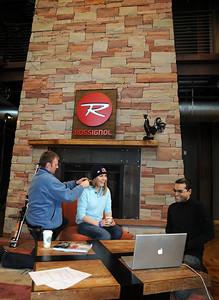 The U.S. Ski Team's Lindsey Vonn prepares for a satellite media tour with sponsor Red Bull at the U.S. headquarters of Rossignol in Park City, Utah.