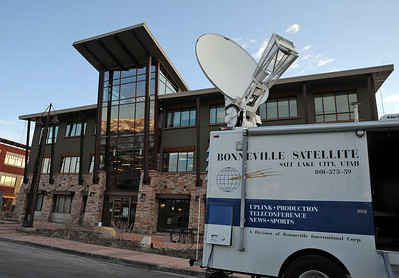 A satellite truck sits outside the Rossignol office in Park City as the U.S. Ski Team's Lindsey Vonn prepares for a satellite media tour with sponsor Red Bull.