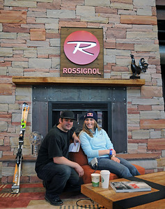Rossignol racing manager Thor Verdonk poses with the U.S. Ski Team's Lindsey Vonn as she prepares for a satellite media tour with sponsor Red Bull at the U.S. headquarters of Rossignol in Park City, Utah.