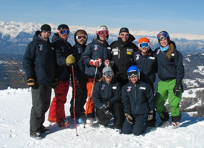 2009 USA Topolino Team- left Manseau (coach), Haferman, Boardman, Moyer, DelliQuadri (project leader), Moltzan, Haskell; Black (coach) and Driller. Photo: Terry DelliQuadri/U.S. Ski Team