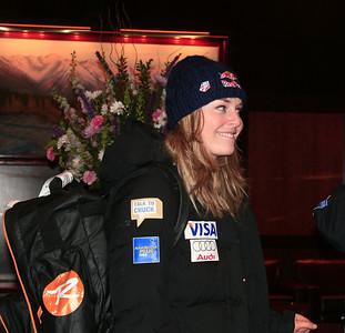 Lindsey Vonn smiles after arriving at the Nature Valley U.S. Alpine Championships in Alyeska (Jen Desmond/USSA)