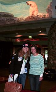 Lindsey Vonn poses with women's Team Manager Sarah Duffany after arriving at Alyeska Resort (Jen Desmond/USSA)