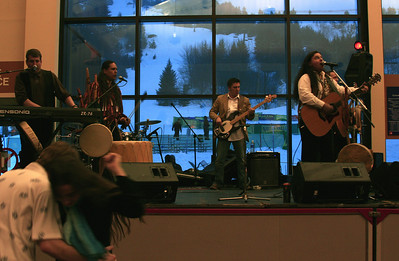 Athletes and spectators welcomed by NAMMY award winning group Medicine Dream, performing contemporary Native American music, and the Alaska Native Heritage Center dance group, telling traditional native stories through dance, at the Nature Valley U.S. Championships in Alyeska, AK. (Jen Desmond/USSA)