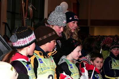 Lindsey Vonn and Kaylin Richardson during the public bib draw at the Opening Ceremony, Nature Valley U.S. Alpine Championships (Jen Desmond/USSA)
