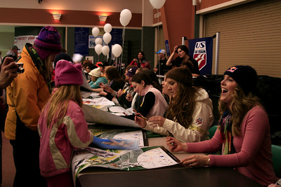 The U.S. Ski Team  signing autographs at the Opening Ceremony during the Nature Valley U.S. Alpine Championships (Jen Desmond/USSA)