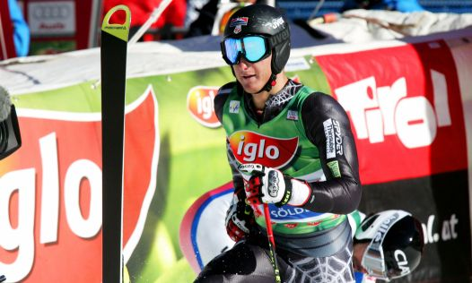 Tim Jitloff celebrates in the finish arena following his first World Cup points with 20th in Soelden (Fischer)