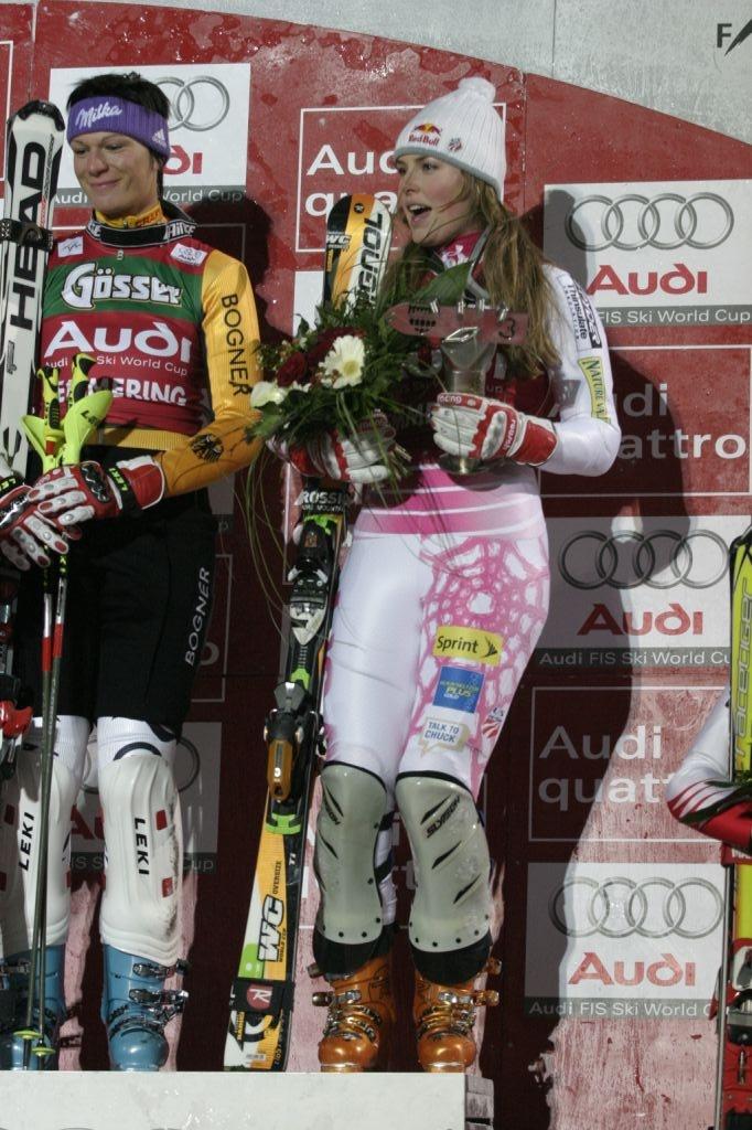 Maria Riesch (l) Lindsey Vonn (r) FIS World Cup Semmering, Austria Photo © Stephan Boeker