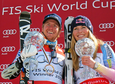 U.S. Ski Team athletes Ted Ligety and Lindsey Vonn show off their crystal globes at the Audi FIS World Cup Finals in Garmisch-Partenkirchen, Germany. Ligety won his second giant slalom title in three years, while Vonn took the downhill, super G and super combined titles, plus the Audi FIS World Cup overall title. (U.S. Ski Team/Doug Haney)