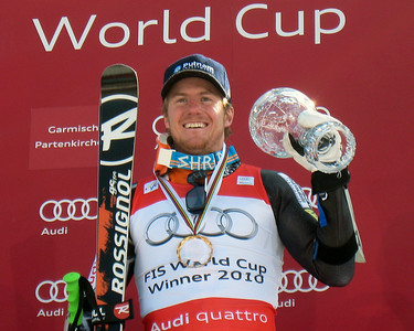 The U.S. Ski Team's Ted Ligety shows off his crystal globe for wining the Audi FIS Wordl Cup giant slalom title for the second time in three years at the World Cup Finals in Garmisch-Partenkirchen, Germany. (U.S. Ski Team/Doug Haney)