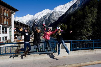 Megan McJames (Park City, UT), Resi Stiegler (Jackson Hole, WY), Sarah Schleper (Vail, CO) and Jessica Kelley (Starksboro, VT) in Soelden, Austria (Kevin Pritchard)