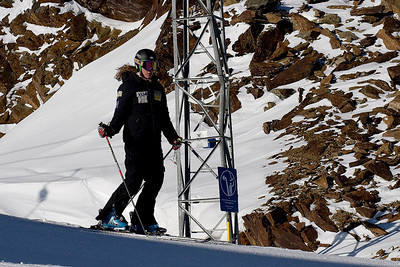 """Resi Stiegler (Jackson Hole, WY) trains on the """"icebox"""" in Soelden, Austria prior to the World Cup opener (Kevin Pritchard)"""