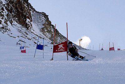 """Megan McJames (Park City, UT) trains on the """"icebox"""" in Soelden, Austria prior to the World Cup opener (Kevin Pritchard)"""