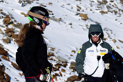 Resi Stiegler (Jackson Hole, WY) works with her ski technician in Soelden, Austria prior to the World Cup opener (Kevin Pritchard)