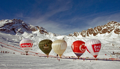 Hot air balloons line the finish area at the Audi FIS Alpine World Cup opener on the Rettenbach Glacier high above Soelden, Austria. (U.S. Ski Team)
