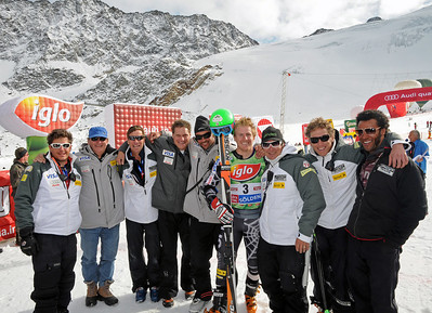 U.S. Ski Team staff pose with Ted Ligety after his second place finish on the Rettenbach Glacier in the Audi FIS Alpine World Cup opener in Soelden. (U.S. Ski Team)
