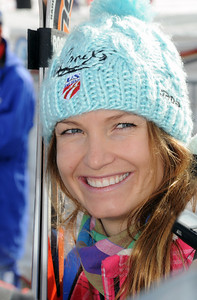Julia Mancuso smiles in the finish area at the Audi FIS World Cup opener in Soelden, Austria. (Tom Kelly)