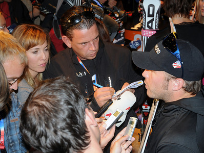 Bode Miller appears at a Head skis press conference at the Audi FIS World Cup opener in Soelden, Austria.