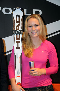 Lindsey Vonn appears at a Head skis press conference at the Audi FIS World Cup opener in Soelden, Austria.