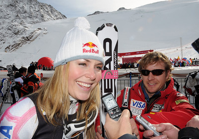Lindsey Vonn talks to journalists in the finish area as the Audi FIS World Cup opens in Soelden, Austria. (U.S. Ski Team)