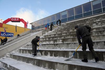 Crews remove snow in the stadium. It's raceday on the Rettenbach Glacier high above Soelden, Austria. (U.S. Ski Team)