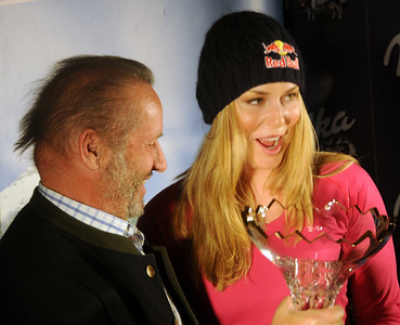 U.S. Ski Team star Lindsey Vonn, posing with AIJS President Robert Seeger, was honored by the International Association of Skisport Journalists (AIJS)  with the Golden Ski or Serge Lang Trophy prior to the opening of the Audi FIS Alpine World Cup in Soelden, Austria. (U.S. Ski Team)