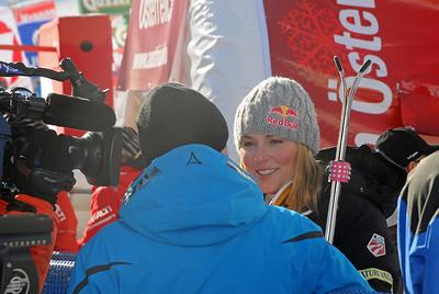 Lindsey Vonn talkes to TV crews after the first run in the Audi FIS Alpine World Cup opener in Soelden, Austria. (U.S. Ski Team)