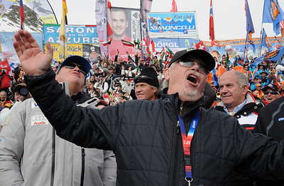 U.S. Ski Team fan and trustee Erik Borgen (right) and U.S. Ski Team President and CEO Bill Marolt (left) react in disbelief as Swiss Didier Cuche picks up over a half-second on the bottom to win and know the U.S. Ski Team's Ted Ligety into second. (U.S. Ski Team)