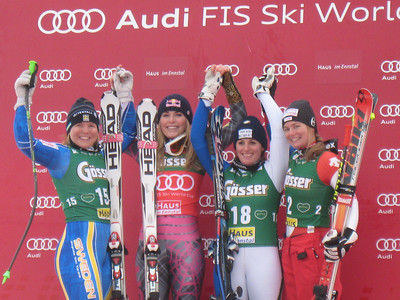 Lindsey Vonn with Anja Paerson (15), Nadia Fanchini (18) and Martina Schild (2) after winning the super G in Haus im Ennstal for her third victory in three days (Doug Haney/U.S. Ski Team)