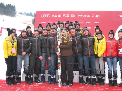 Lindsey Vonn laughs at the podium with a group of fans in Haus im Ennstal (Doug Haney/U.S. Ski Team)