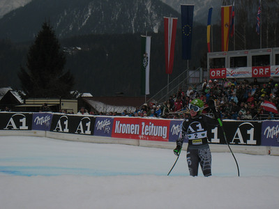 Stacey Cook reacts after puting down an early fast run to finish 13th in the first of two downhills slated for Haus im Ennstal, Austria (Doug Haney/U.S. Ski Team)