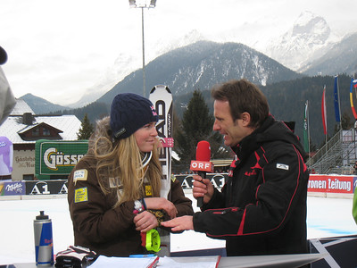 Lindsey Vonn interviews with Austrian national TV ORF following the 26th World Cup win of her career following the first of two downhill races in Haus im Ennstal, Austria (Doug Haney/U.S. Ski Team)